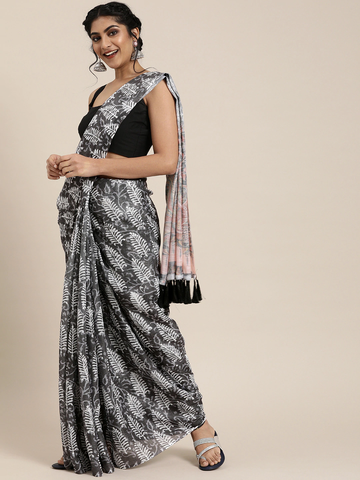 Vastranand | VASTRANAND  Charcoal Grey & White Linen Blend Printed Bagru Celebrity Saree
