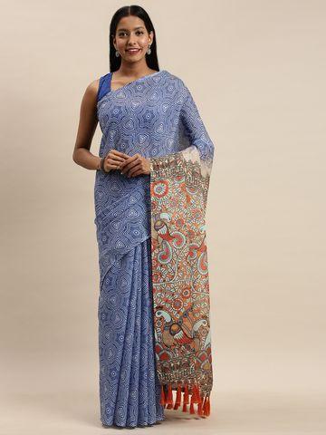 Vastranand | VASTRANAND Blue & White Linen Blend Blend Printed Bagru Celebrity Saree