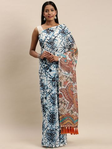 Vastranand | VASTRANAND White & Blue Linen Blend Blend Dyed Bagru Celebrity Saree