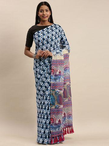 Vastranand | VASTRANAND White & Blue Linen Blend Blend Printed Bagru Saree