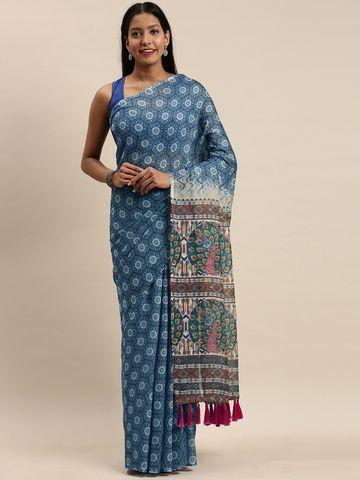 Vastranand   VASTRANAND Blue Linen Blend Blend Printed Bagru Saree