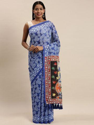 Vastranand | VASTRANAND Blue Linen Blend Blend Woven Design Bagru Saree