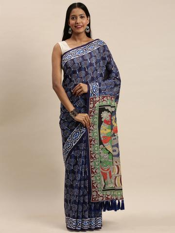Vastranand | VASTRANAND Navy Blue & White Linen Blend Blend Printed Bagru Saree