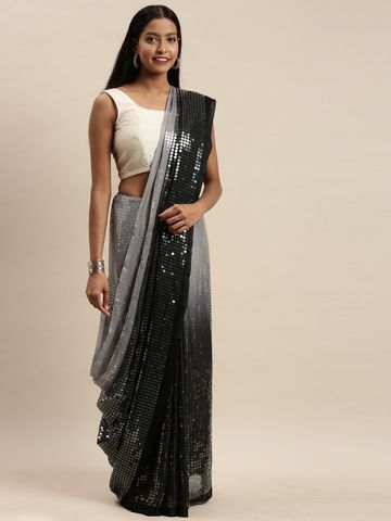 Vastranand | VASTRANAND Black & Grey Silk Embellished Saree