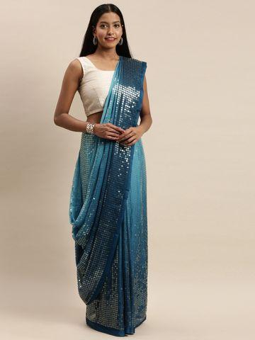 Vastranand | VASTRANAND Blue & Navy Blue Silk Embellished Saree