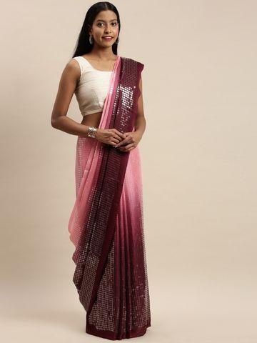 Vastranand | VASTRANAND Pink & Burgundy Silk Embellished Saree
