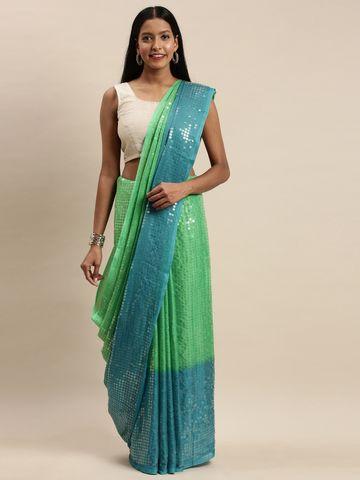 Vastranand | VASTRANAND Sea Green & Blue Silk Colourblocked Sequined Saree
