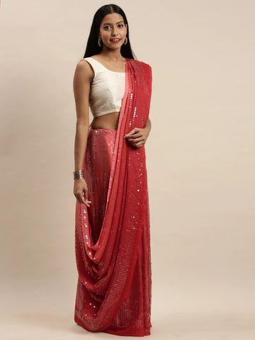 Vastranand | VASTRANAND Red Embellished Silk Saree
