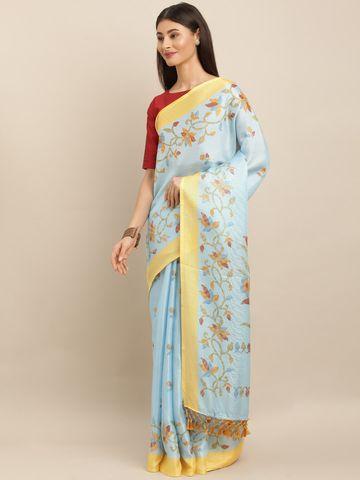 Vastranand | VASTRANAND  Blue & Pink Jute Printed Ikat Saree
