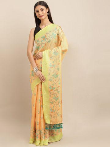 Vastranand | VASTRANAND  Orange & Lime Green Jute Printed Saree