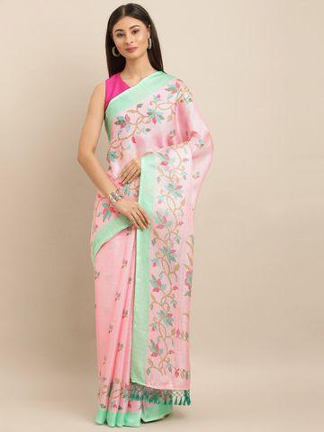 Vastranand | VASTRANAND  Pink & Green Jute Printed Jamdani Saree