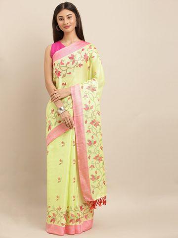 Vastranand | VASTRANAND  Lime Green & Pink Jute Printed Jamdani Saree