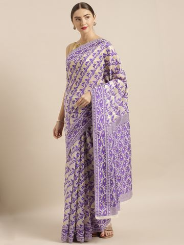 Vastranand | VASTRANAND  Cream-Coloured & Purple Cotton Blend Woven Design Jamdani Saree