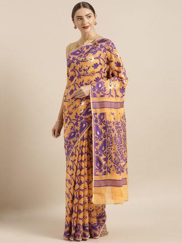 Vastranand | VASTRANAND  Jamdani Peach & Purple Cotton Silk Women's Sarees