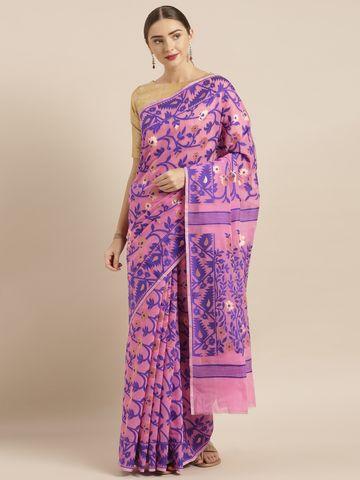 Vastranand | VASTRANAND  Pink & Blue Cotton Blend Woven Design Jamdani Saree