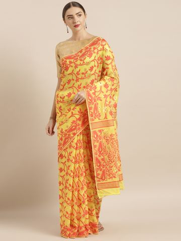 Vastranand | VASTRANAND  Yellow & Red Cotton Blend Woven Design Jamdani Saree