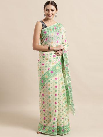 Vastranand | VASTRANAND  Cream-Coloured & Green Cotton Blend Woven Design Jamdani Saree