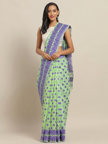 Vastranand | VASTRANAND Green & Purple Silk Blend Woven Design Jamdani Saree
