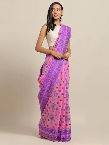 Vastranand | VASTRANAND Pink & Purple Cotton Blend Woven Design Jamdani Saree