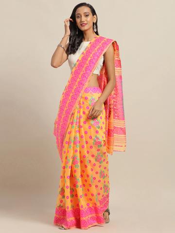 Vastranand   VASTRANAND Orange & Pink Cotton Blend Woven Design Jamdani Saree