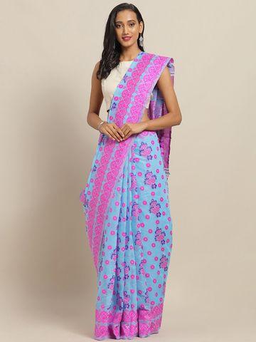 Vastranand | VASTRANAND Blue & Pink Cotton Blend Woven Design Jamdani Saree