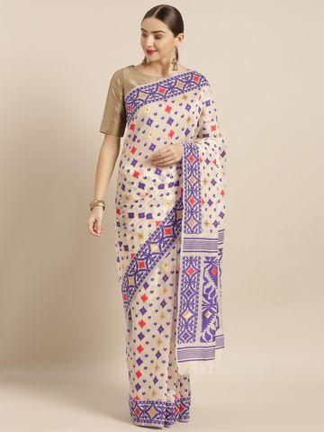 Vastranand | VASTRANAND  Cream-Coloured & Violet Cotton Blend Woven Design Jamdani Saree