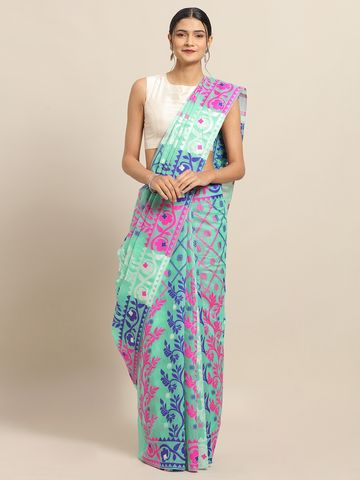Vastranand   VASTRANAND Rama Coloured Trendy Dhakai Jamdani Cotton Silk Saree
