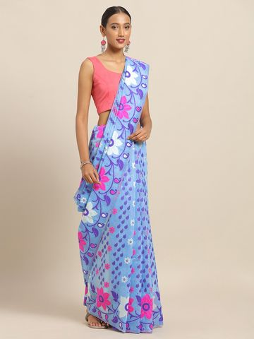Vastranand | VASTRANAND Blue & Pink Cotton Blend Woven Design Jamdani Saree