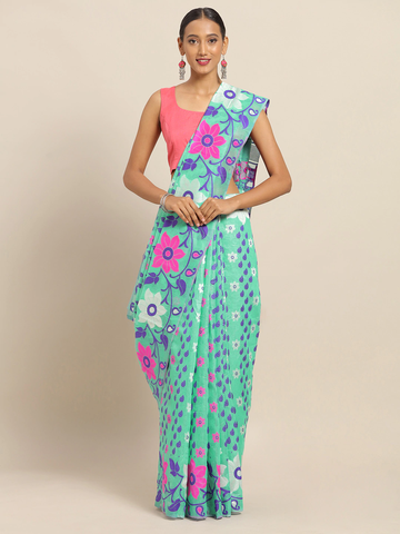 Vastranand | VASTRANAND Sea Green & Purple Cotton Blend Woven Design Jamdani Saree