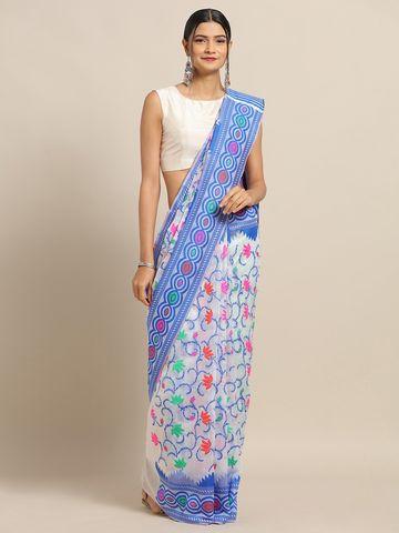 Vastranand | VASTRANAND White & Blue Cotton Blend Woven Design Jamdani Saree