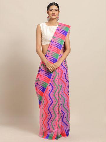 Vastranand | VASTRANAND Pink Coloured Trendy Dhakai Jamdani Cotton Silk Saree