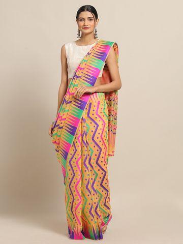 Vastranand | VASTRANAND Orange Coloured Trendy Dhakai Jamdani Cotton Silk Saree