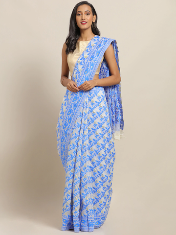 Vastranand | VASTRANAND Blue & White Cotton Blend Printed Jamdani Saree