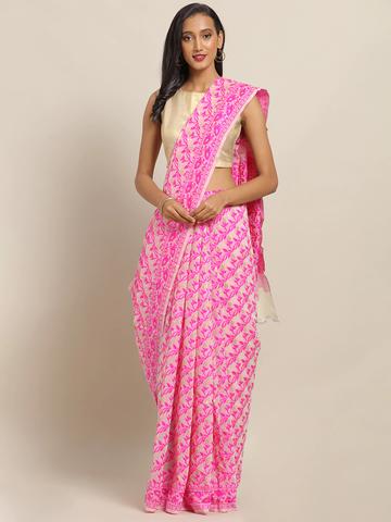 Vastranand | VASTRANAND Pink & Off-White Cotton Blend Woven Design Jamdani Saree