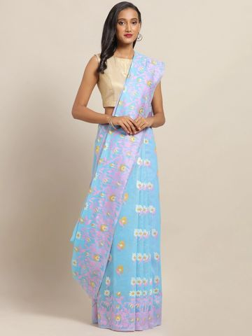 Vastranand | VASTRANAND Blue & Pink Cotton Blend Printed Jamdani Saree