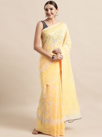 Vastranand | VASTRANAND  Cream-Coloured & Yellow Cotton Blend Woven Design Jamdani Saree