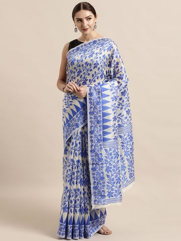 Vastranand | VASTRANAND  Cream-Coloured & Blue Cotton Blend Woven Design Jamdani Saree