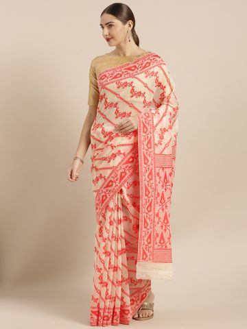 Vastranand | VASTRANAND  Beige & Red Cotton Blend Woven Design Jamdani Saree