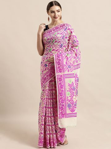 Vastranand | VASTRANAND  Cream-Coloured & Pink Cotton Blend Woven Design Jamdani Saree