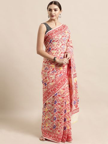 Vastranand | VASTRANAND  Cream-Coloured & Red Cotton Blend Woven Design Jamdani Saree