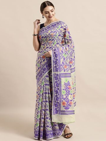 Vastranand | VASTRANAND  Off-White & Purple Cotton Blend Woven Design Jamdani Saree