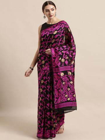 Vastranand | VASTRANAND  Black & Pink Cotton Blend Woven Design Jamdani Saree