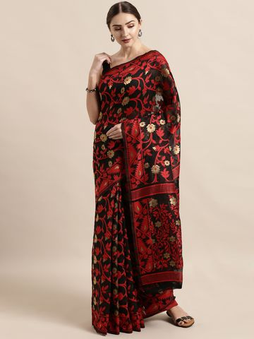 Vastranand | VASTRANAND  Black & Red Cotton Blend Woven Design Jamdani Saree