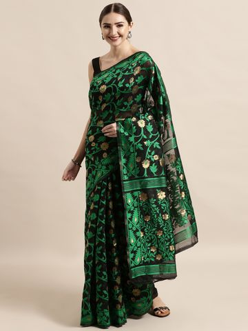 Vastranand | VASTRANAND  Black & Green Cotton Blend Woven Design Jamdani Saree