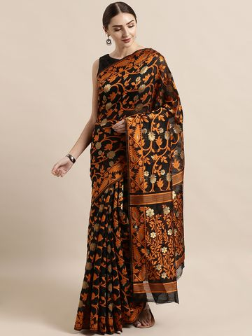 Vastranand | VASTRANAND  Black & Orange Cotton Blend Woven Design Jamdani Saree