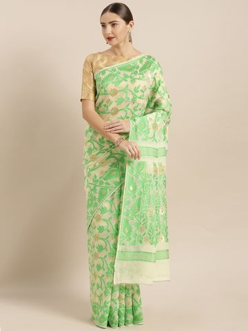 Vastranand | VASTRANAND  Cream-Coloured & Green Cotton Blend Woven Design Jamdani Saree