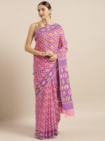 Vastranand | VASTRANAND  Pink Cotton Blend Woven Design Jamdani Saree