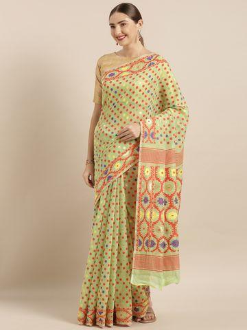 Vastranand   VASTRANAND  Green Cotton Blend Woven Design Jamdani Saree