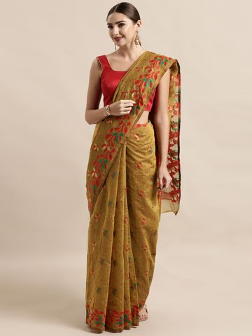 Vastranand | VASTRANAND  Mustard Yellow & Red Cotton Blend Woven Design Jamdani Saree