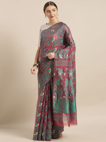 Vastranand | VASTRANAND  Burgundy & Green Cotton Blend Woven Design Jamdani Saree